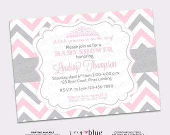 Princess Baby Shower Invitation Pink Grey Chevron Little Princess Invitation Girl Baby Shower Invite - Printable Digital File