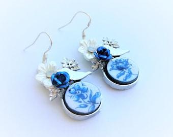 Birds & Flowers tile earrings, Delft blue earrings, delft tiles earrings, Portuguese tiles, Portugal azulejo, travel gift, Portuguese Spring