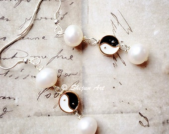 Artistic freshwater pearls & enamel earrings, Yin Yang design, white and black enamel, Chinese Tai Chi design,  Artisan Jewelry