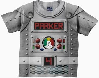 Personalized Robot Shirt, Boys Retro Robot Birthday Shirt, Robot Costume T-Shirt, Boy's Top
