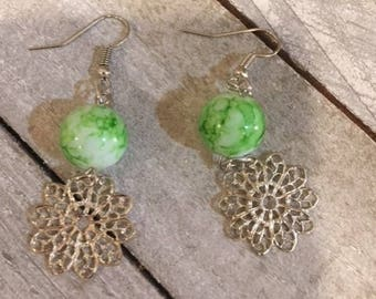 Stunning Lime Green Glass Beads and White & Silver Filigree Dangle Earrings