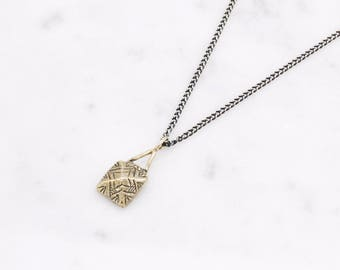 Pyramid necklace - brass