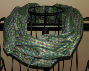 Fabric Infinity Scarf in Emerald green and Jewel Tones