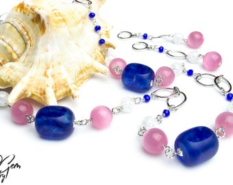 Boho Jewelry Set Long Bohemian Blue Necklace Chain Necklace Pink Big Stone Jewelry Long Quartz Earrings Gemstone Fashion Jewelry