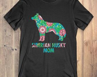 Flower Siberian Husky T-Shirt Funny Gift: Siberian Husky Mom