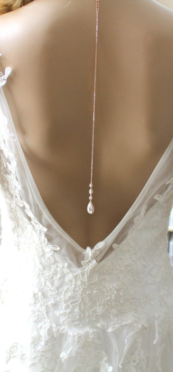 Dainty Backdrop necklace Rose gold Back drop necklace