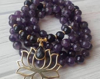 ENLIGHTENED BEGINNINGS Amethyst Mala Beads 108 Amethyst Mala Necklace 108 Mala Beads Amethyst & Onyx Lotus Yoga Necklace Lotus Necklace Mala