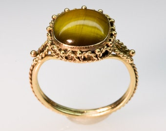 Golden Tiger Eye Filigree Ring - in 14K Gold