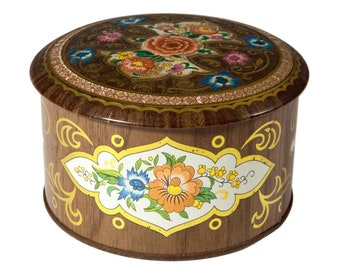 FREE SHIPPING: Vintage Colorful Round Tin - Daher Embossed Lid Box - MidCentury Container Made in England