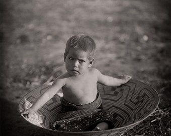Native American Photo, American Indian Photograph of Indigenous Maricopa American Indian Boy, Black White Photography, Sepia Photo