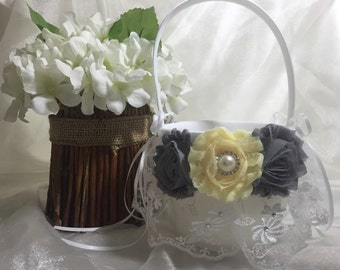 Flower Girl Basket Wedding White or Ivory CUSTOM Rhinestone Crystal Flower Pearls Light Yellow Light Grey