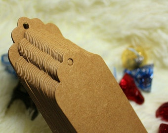 Large brown kraft plain gift tag / cardboard tags in set of 50