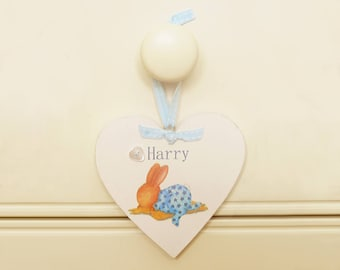 Personalised Sleeping Bobby Heart Name Plaque/Hanger - Bobby Bunny & Friends Illustrated Range by Jennifer Keelan Illustration