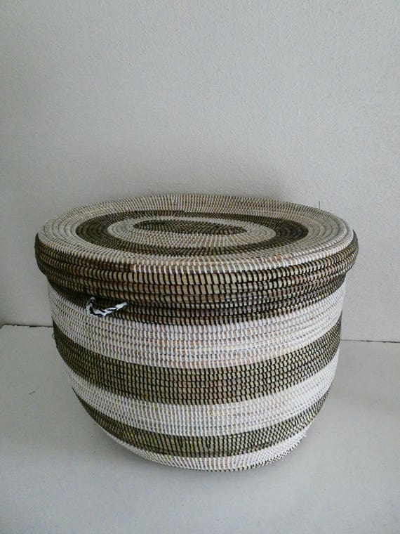 Large Oval Basket In Black And White Laundry Storage End