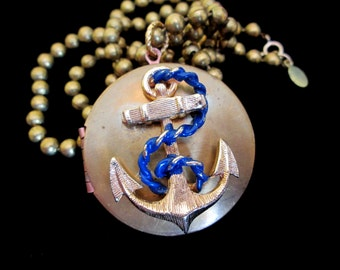 Anchors Away - Vintage Locket Necklace