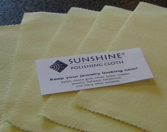 10 Pack Authentic Sunshine Jewelry polishing cloth full size 7 1/2 x 5 silver gold