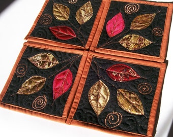 Coasters, Set of 4, Fall Leaves, Fiber Art, Surface Design,Handmade