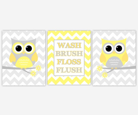 Kids Bath Wall Art Yellow Gray Owl Wall Decor Wash Brush Floss