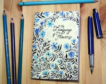 Small illustrated notebook - The Language of Flowers - blue