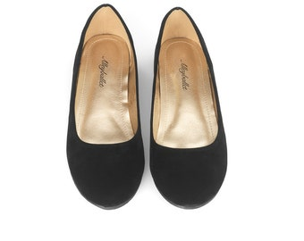 Black Velvet Hidden Wedge Ballerina Ballet Flat Shoes Secret Heel Lift UK