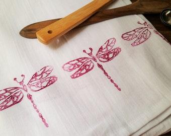"Block Printed Flour Sack Kitchen Towel Burgundy Dragonflies 28"" x 32"""