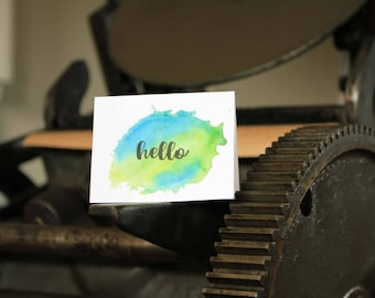 Hello, letterpress and watercolor greeting card