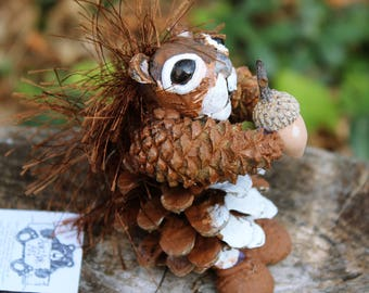Pinecone Red Squirrel Adirondack Figurine