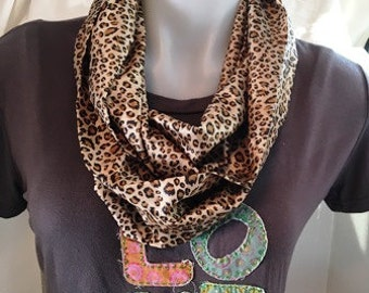 Leopard Print Infinity Scarf, silk scarf, Summer Scarf,  country chic, high fashion, animal print scarf, for women or teenager, gift for her