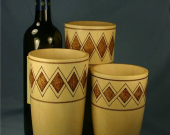 Set of Three Sycamore Wood Vases with Woodburned Overlapping Zigzag Diamond Bands