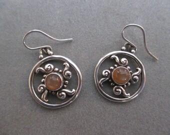 SALE, Sterling Silver Peach Moonstone Boho Circle Swirl Earrings #ER105SS