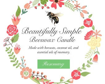 Rosemary Essential Oil Beeswax Candle - 12 oz