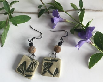 Square Porcelain Sage Earrings with Olive Green Ginkgo Design and Jasper
