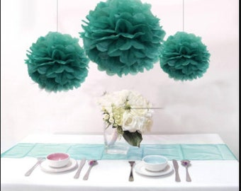 Wholesale Lot of SIX Turquoise Tissue Paper Flower Pom Poms TURQUOISE