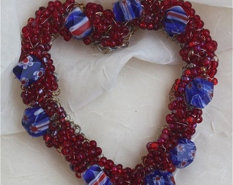 Romantic heart wreath red seed beads  Valentine love red white cobalt blue beads glass patriotic wire wrapped ornament home decor