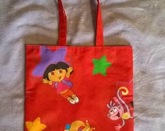 Red Dora the Explorer Childrens Cotton Shopping bag / Book bag