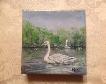 Vintage Oil Painting of Swans by Donna McDermott