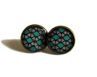 TURQUOISE TRIBAL EARRINGS - Boho stud earrings - Native American Art earrings - Mexican Folk Art earrings - Folk art Jewelry