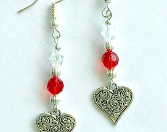 Engraved heart earrings, Mother's Day gift, Valentine's Day drop earrings, red and silver heart drop earrings