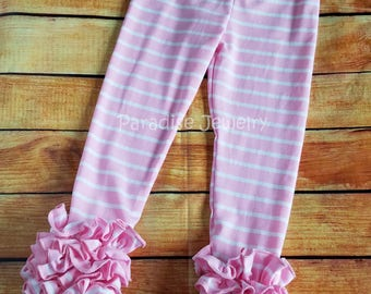 Pink Stripe Ruffle Leggings Girls Clothing Little Girl Soft Cotton Triple Ruffle Toddler Leggings Layering Pants