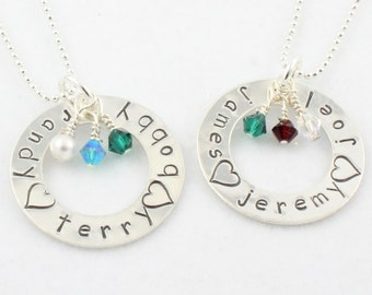Mother's Day Gift For Mom or Grandma - Personalized Sterling Silver Birthstone Necklace - Hand Stamped Birth Stone Gift for Mom