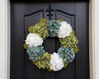 Shabby Chic Decor Wreaths - Hydrangea Wreath -  Wreaths for All Seasons - Spring Hydrangeas - Spring Wreaths - Hydrangea Blooms