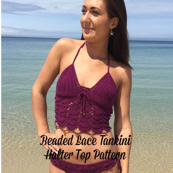 Beaded Lace Tankini Halter Top Crochet Swimsuit Pattern PDF