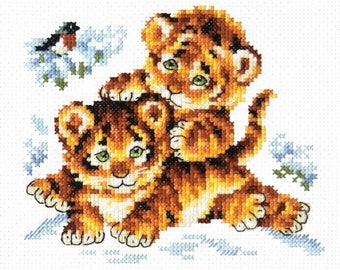 Cross Stitch Kit /beginner / child / Tigers