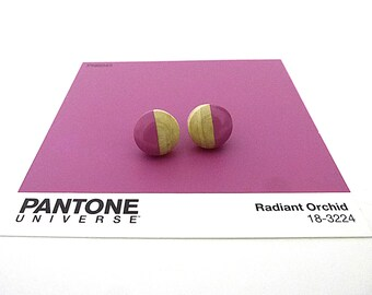 Radiant orchid stud earrings, wood post earrings, spring colors, purple, lavender, color of the year