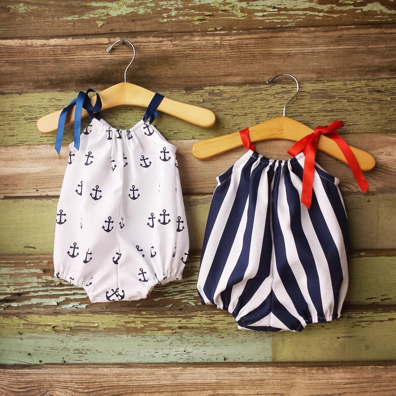 Beach Bubble Romper Sunsuit Anchors Navy Summer baby