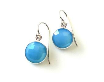 Blue Chalcedony Tear Drop Sterling Earring, Teardrop, Blue Chalcedony Earring,