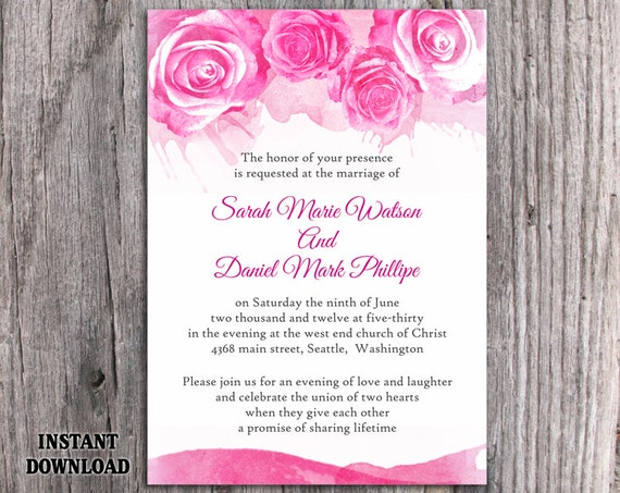 Watercolor Wedding Invitation Template Download Printable