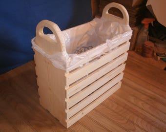 wood crate, trash bin crate, crate, wood crate, unfinished crate, storage crate, sewing basket