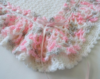 Crochet Baby Afghan Blanket Lacy Ruffle Pink, Gray, White, Crib Bedding, Nursery Decor, Baby Shower Gift, Baby Girl Blanket