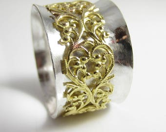 Flourish - Sterling Silver with Brass Flourish Spinner RIng - Size 11.5